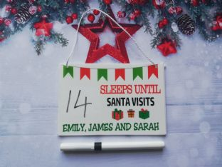 Personalised Countdown to Christmas Plaque